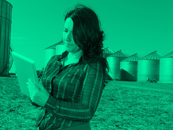 One woman looking at a laptop on a farm